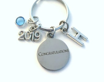 Gift for New Job Promotion KeyChain, Graduation Key Chain, Retirement Keyring Jewelry 2019 Initial Birthstone present women Congratulations