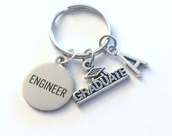 Graduation Gift for Engineer Keychain, 2020 Engineering Key Chain Mechanical Civil Industrial Student Grad KeyChain Keyring Graduate 2021