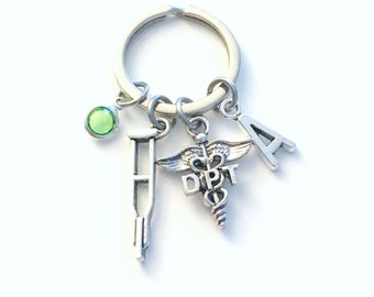 DPT Gifts Keychain, Doctor of Physical Therapy Caduceus Key chain, Therapist Keyring, Initial letter her him men women crutches crutch for