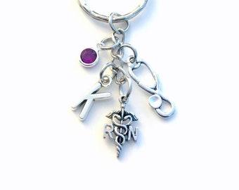 RN Keychain, Nursing Key Chain, Purse Planner Charm, Personalized Gift for Nurse Medical Keyring initial birthstone custom caduceus