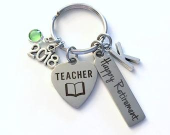 Teacher Retirement Present, 2018 School Principal Keychain Gift for Women or Men Retire, Key Chain Keyring him her Personalized Custom 2018