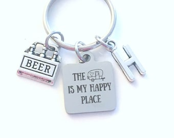 Travel Trailer Keychain, The camper is my happy place Keychain, Beer RV Keyring, Gift for Fathers Day Present, Vacation home Key Chain park