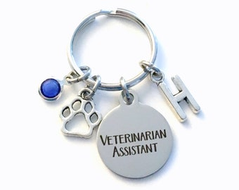 Veterinarian Assistant Keychain, Vet Assist Key Chain, Initial Birthstone Gift Present Graduate men women her paw graduation retirement tech