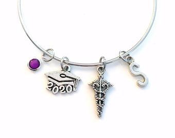 Lab Tech Graduation Charm Bracelet, 2020 2021 Caduceus Jewelry, Medical Gift for Nurse, Symbol Doctor initial Birthstone present Researcher