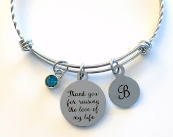 Mother's Day Present, Thank you for raising the love of my life Bracelet, Stainless Charm Bangle, Wedding Jewelry Gift for of Groom Bride