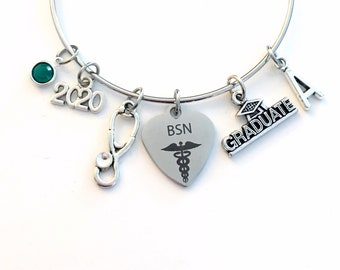 BSN Graduation Bracelet, 2020 Gift for Bachelor of Science Nursing RN Nurse Student Grad Charm Bangle initial in jewelry Stethoscope