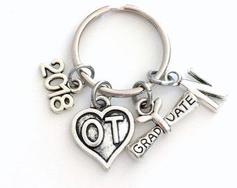 Graduation Gift for OT Student Keychain, 2018 Occupational Therapist Key Chain Therapy Initial Birthstone Grad Present Graduate scroll heart