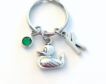 Duck Keychain, Ducky Bird Key Chain, Gift for New Mommy or Daddy present, Animal Men women her him with Initial Birthstone little duckling