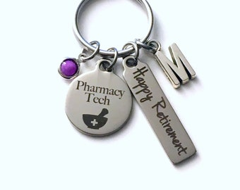 Pharmacy Tech Retirement Present, Rx Pharmacist Keychain, Gift for Women Men Retire Key Chain Keyring him her Personalized Drug Store
