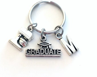 Pastry Chef Graduation Present for Cook Keychain, 2020 Culinary Key Chain, Graduate Grad Keyring with Initial letter, Cooking Him Her 2021