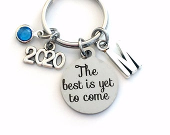 The best is yet to come Keychain, 2020 Gift for Retirement Key chain, or Graduation Keyring, Initial letter her women men him, encouragement