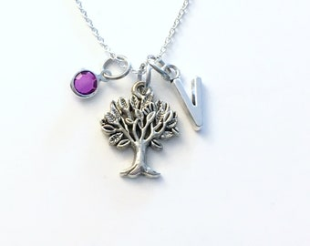 Tree of Life Necklace, Family Tree Necklace, Tree of Life Mother Jewelry, Gifts for Mom Mommy with initial and birthstone Day Present her