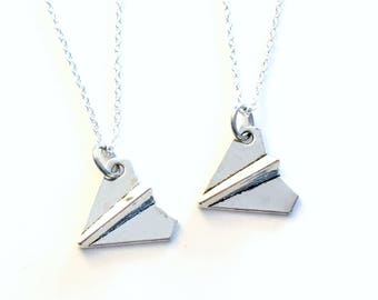 Paper Airplane Necklace, Set of 2 Air plane Jewelry, Best Friends Gift for BFF Silver Boys Distance Matching origami teen girl teenager him