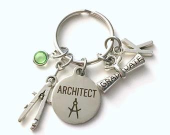 Graduation Gift for Architect KeyChain, Compass Key Chain, Grad Keyring Jewelry Initial Birthstone him her men Graduate women Scroll present