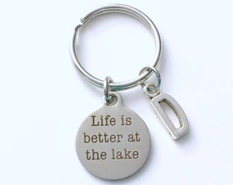Lakehouse Keychain, Life is better at the Lake Key Chain, Cottage Lake House Keyring, birthday Gift for Christmas Present Vacation him Dad