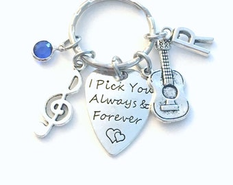 I pick you always and forever Key Chain, Guitar pick keychain, Birthday Gift for Husband Wife Keyring, from to Spouse Musician Music note