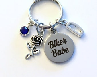 Biker Babe Keychain, Motorcycle Keyring, Bike Key Chain, Gift for Girlfriend, Wife, BFF present, women Birthday initial letter woman her