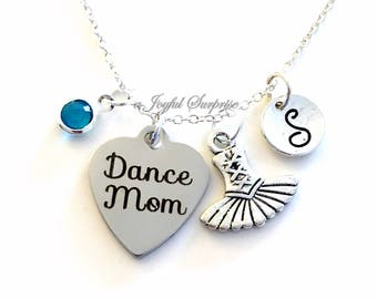 Dance Mom Necklace, Dancer's Mom Jewelry Dance Tutu Mother Day Present Charm Personalized Initial Birthstone birthday gift Christmas present
