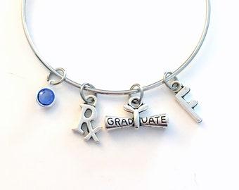 Pharmacy Technician Graduation Gift, Pharmacist Tech Charm Bracelet, Student Grad Bangle initial birthstone Jewelry Graduate Rx