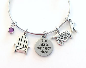 Retirement Gift for Women, The lake is my happy place Bracelet, Wine Jewelry, Cottage Chair Silver birthstone initial Quote Bangle Charm her