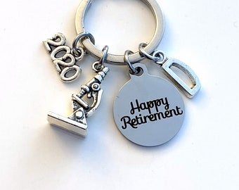 Retirement Gift for Scientist Keychain 2020 Lab Technician Science Teacher Researcher Biologist Microscope Key chain Initial present him her
