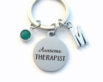 Awesome Therapist Key Chain / Gift for Therapy Keychain / Social Worker Keyring /  Counsellor Counselor Present / Graduation Retirement