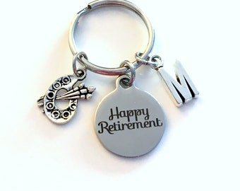 Retirement Gift for Artist Keychain,  Preschool Art Teach Key chain Keyring Retire Initial letter Pre Her Au Pair Nanny day care Daycare