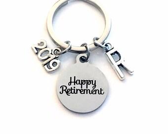 2019 Retirement Gift for Him or Her Keychain, Retire Present Coworker Key chain, Boss Keyring ring Initial letter custom Dad Mom Men women