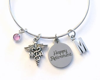 Retirement Gift for MA Bracelet, Medical Assistant Jewelry, Physician Doctor Charm, Silver Medical Caduceus women birthstone initial letter