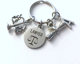 Law School Graduation Present, Lawyer Keychain, Gift for Law Student Graduate 2019, Bar Association Key Chain Grad Keyring Initial 2020