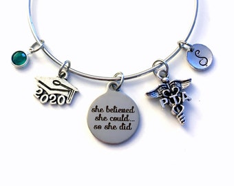 Gift for PTA Graduation Present / 2020 Physical Therapist Assistant Bracelet / PT Charm Bangle / She Believed she could so she did Jewelry