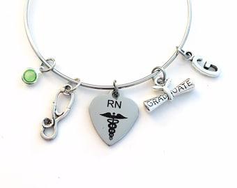 RN Graduation Charm Bracelet, Gift for Registered Nurse Nursing Jewelry Medical Student Grad Silver Bangle initial letter her lady