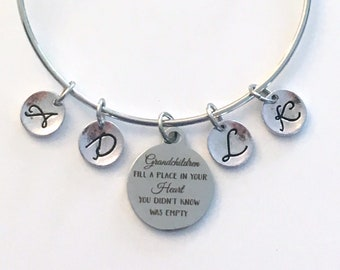Gift for Grandmother Jewelry, Grandchildren fill a place in your heart you didn't know was empty Charm Bracelet from 2 3 4 5 6 7 8 9 letter