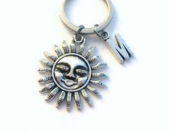 Sun Keychain, Sunshine Key chain, Solarium Keyring, Smiling Sun Gifts, Accessories, Happy Symbol with Initial monogram birthday solar fun