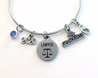 Graduation Gift for Lawyer, 2020 Law School Grad Charm Bracelet, Passing the Bar, Student Silver Bangle Jewelry Graduate her women woman
