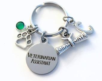 Graduation Gift for Veterinarian Assistant Keychain, Vet Assist Key Chain, Initial Birthstone Present Graduate men women her him scroll paw