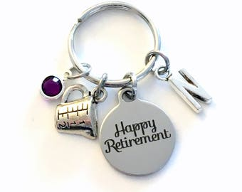 Retirement Gift for Mom Keychain, Pastry Chef Present Cook Key chain, Culinary Retire Keyring with Initial letter Cooking Him Her Baking