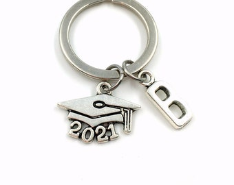 2021 Mortarboard Keychain / Graduation Keychain with Initial letter / Gift for Graduate Keyring / Grad Key Chain College Cap or other years