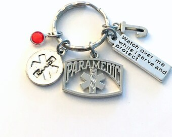 Paramedic Gift for Her or Him Keychain, Watch over me while I serve and protect Key Chain, EMT Keyring, Gift for Graduation present Grad