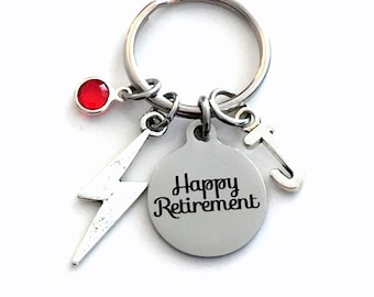 Retirement Gift for Meteorologist Keychain, Lightning Bolt Retired Present, Women Key Chain Weatherman Weather Woman Keyring Jewelry him her