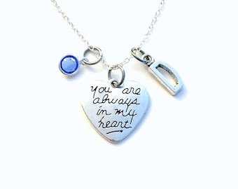 Silver Heart Necklace, Valentines Day Gift for Mother's Day Present, You are always in my heart Charm Fiance Jewelry Initial Canadian Seller