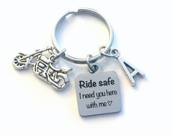 Birthday gift for him, Ride safe I need you here with me Keychain, Present for Husband Key Chain, Boyfriend Men Keyring motorcycle from wife
