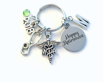 Retirement Gift for MA Keychain 2018 Caduceus Medical Assistant Key chain Assist Keyring Retire Coworker Initial letter her Associate 2019