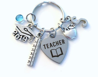 Teacher Graduation Gift Keychain, 2019 Principal Teach Ruler Apple charm Key chain Keyring Grad birthstone Initial letter for her women