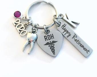 Retirement Gift for RDH Keychain, 2020 Registered Dental Hygienist Keyring, Dentist Retire Key Chain, Present him her women Men Assistant