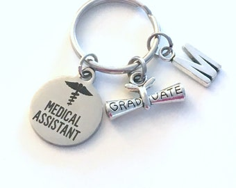 Medical Assistant Graduation Gift, 2020 MA Keychain, Gift for MA Student Grad Keyring, MA Key Chain initial letter custom 2021 physician her