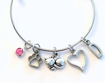 Cat Mom Bracelet, Kitty Charm Jewelry, Silver Adjustable Bangle, Personalized Custom, Women Her Paw Heart Paw Initial Birthstone Rescue Pet