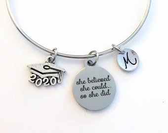 Graduation Bracelet / 2020 Mortarboard Grad Cap /  Gift for College Graduate Jewelry / She believed she could so she did