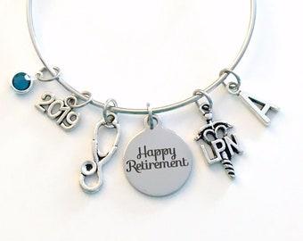 LPN Retirement Gift, Stainless Steel Charm Bracelet for Nurse 2019 Women Jewelry Bangle Licensed Practical Nursing initial letter Birthstone