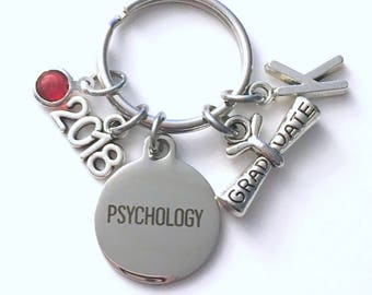 Graduation Gift for Psychology Keychain, 2018 Psychologist Psych Major Key Chain, Initial Birthstone Grad Present Keyring 2019 women her